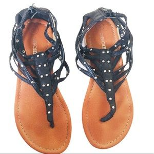 CHEROKEE Gladiator Stud Sandals/Shoes Black Sz 1
